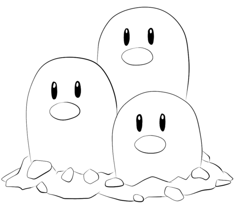 Dugtrio coloring page