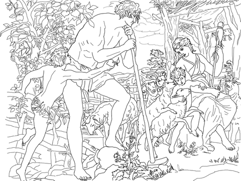 adam and eve with cain and abel coloring page