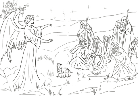 Angel Gabriel Announcing the Birth of Christ to Shepherds Coloring page
