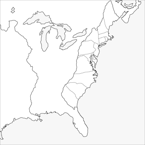 Thirteen Colonies Blank Map Coloring Page