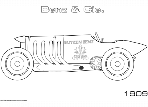 1909 Blitzen-Benz 200 PS coloring page