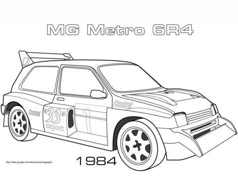 1984 MG Metro 6R4 coloring page