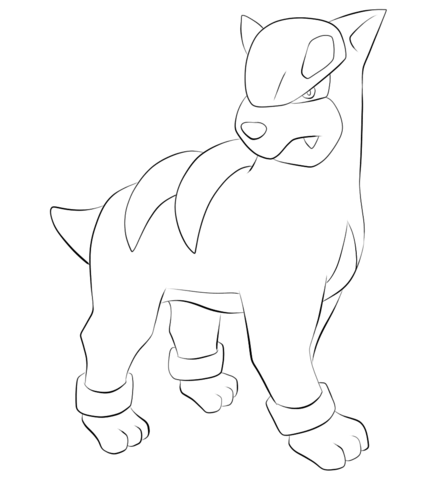 Houndour coloring page - Free Printable Coloring Pages