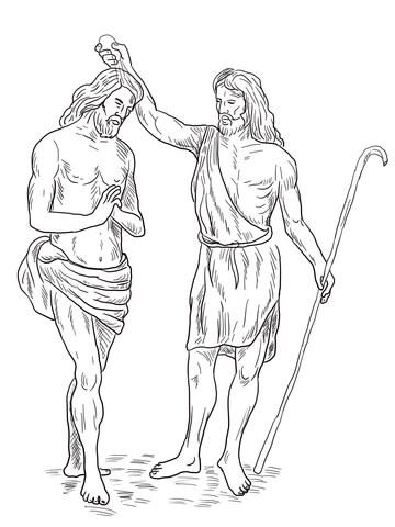 John the Baptist Baptized Jesus coloring page - Free Printable ...