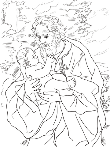 Saint Joseph with the Infant Jesus coloring page