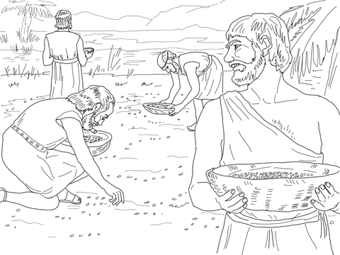Gathering Manna from Heaven coloring page