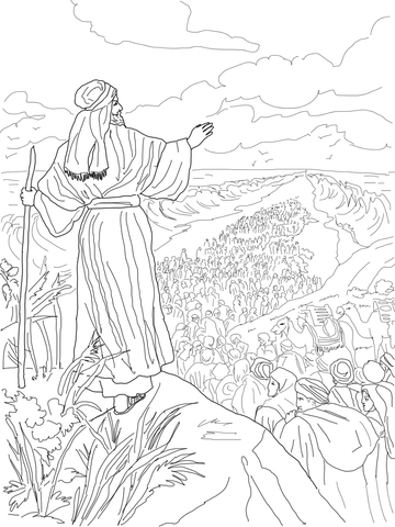 Israelites Crossing the Red Sea coloring page