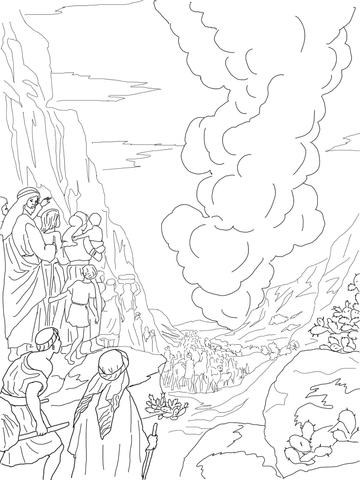 Pillar of Fire and Cloud coloring page