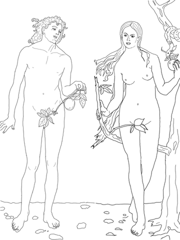 Adam and Eve the First Sin coloring page