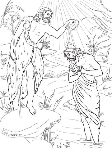 John The Baptist Baptizing Jesus Coloring Page Free Printable