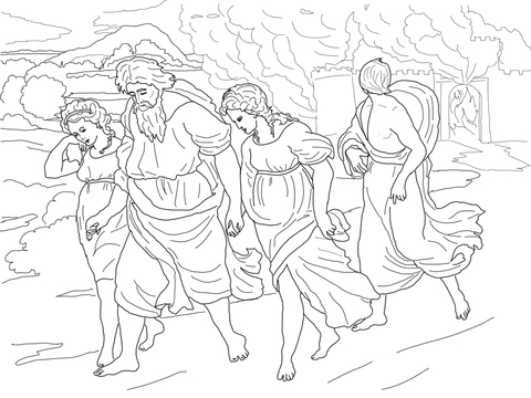 Lot and His Daughters Fleeing the Destruction of Sodom and Gomorrah coloring page