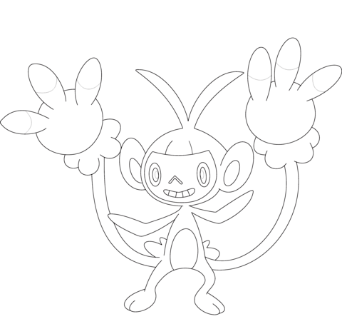 Ambipom coloring page
