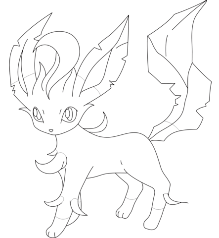 Leafeon coloring page