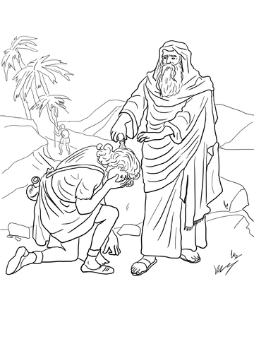 Samuel Anoints David As King Coloring Page
