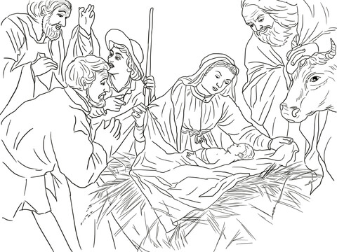 Adoration of the Shepherds coloring page