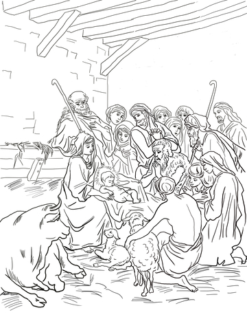 Nativity Scene with Holy Family, Shepherds and Animals coloring page
