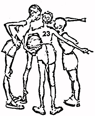 A Game of Basketball by Norman Rockwell coloring page