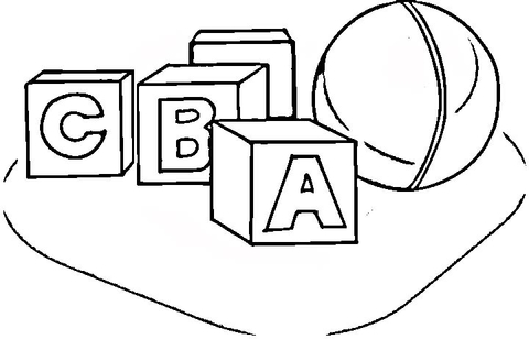 Alphabet cubes C, B, A and a ball coloring page
