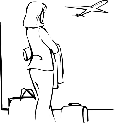 Woman at the Airport  coloring page