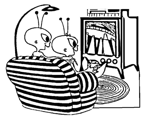 Aliens Watching TV coloring page