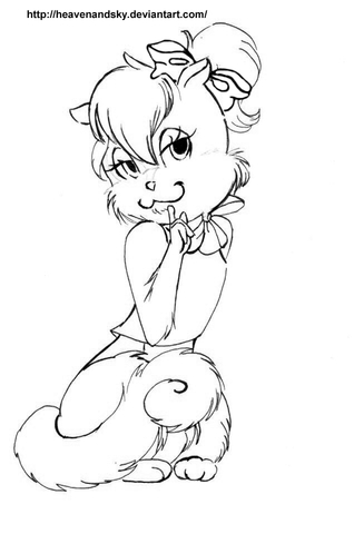 Ashley Chipette from Alvin and the Chipmunks coloring page
