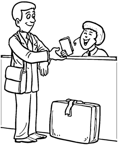 Check in  coloring page