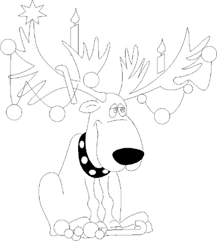 Christmas lights on reindeer antlers coloring page