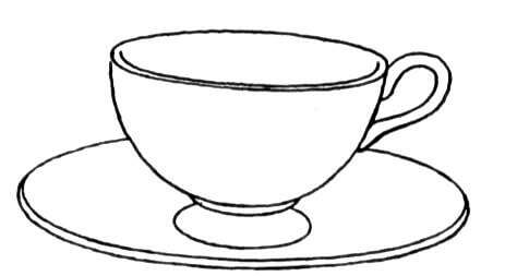 cup and saucer coloring page