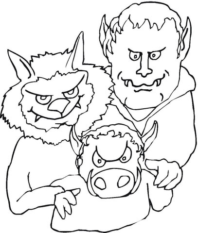 Demon's Vampire Family  coloring page
