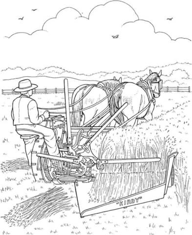 It is harvest time. The farmer is harvesting the crops. coloring page