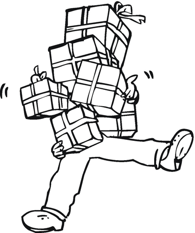 Full Hands Of Presents  coloring page