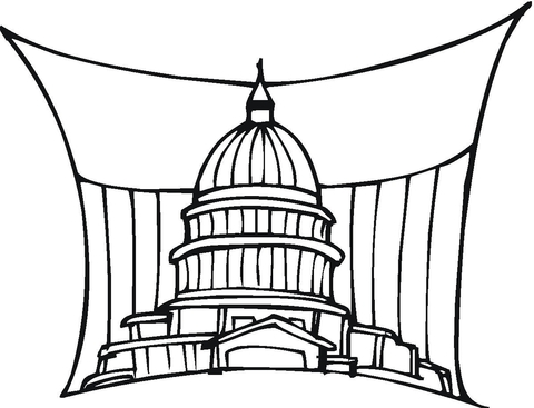 Capitol US Government building In Washington coloring page