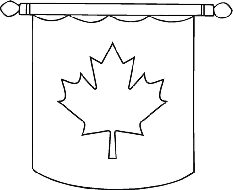 Hanging Canadian Flag  Coloring page