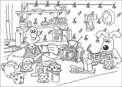 Wallace and Gromit Having Breakfast  coloring page