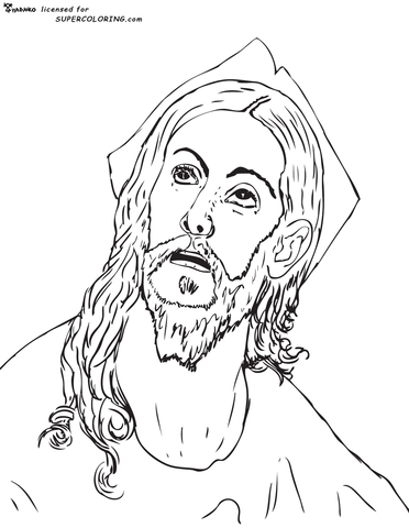Head Of Christ By El Greco  coloring page