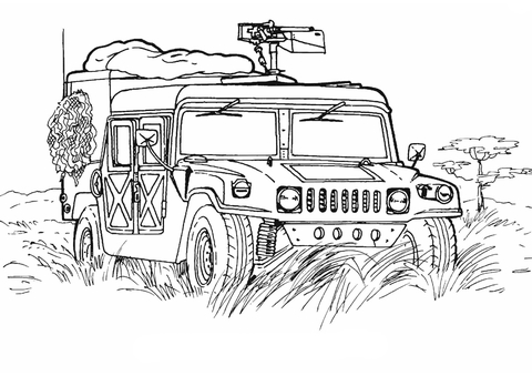 Army Hummer  coloring page
