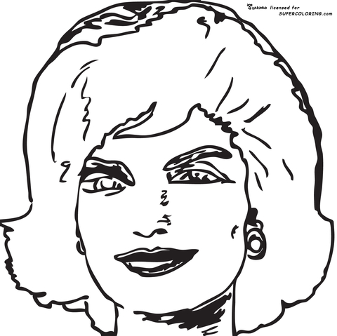 Jackie Kennedy Onassis By Andy Warhol  coloring page