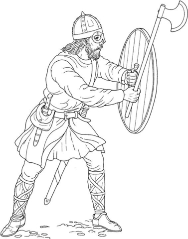 Viking with Ax and Shield coloring page