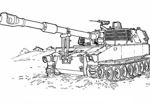 M-109 Howitzer Self-Propelled Gun coloring page