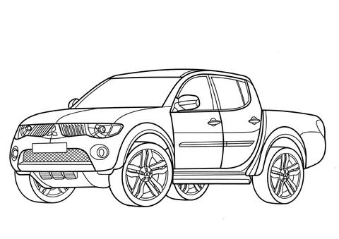 Mitsubishi L200 Pickup coloring page - Free Printable Coloring Pages