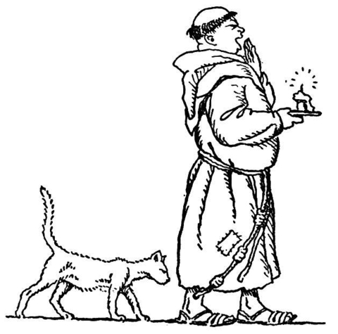 Monk With a cat coloring page