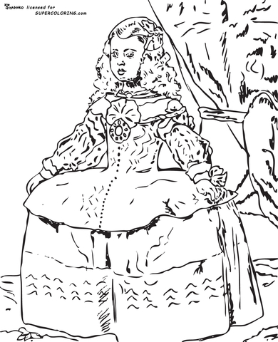 Portrait Of The Infanta Margarita By Diego Velazquez coloring page
