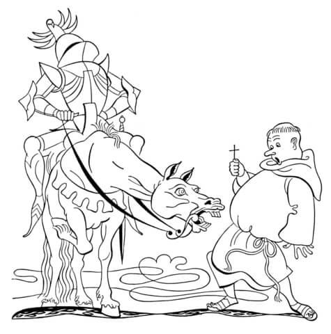 Priest and Knight  coloring page