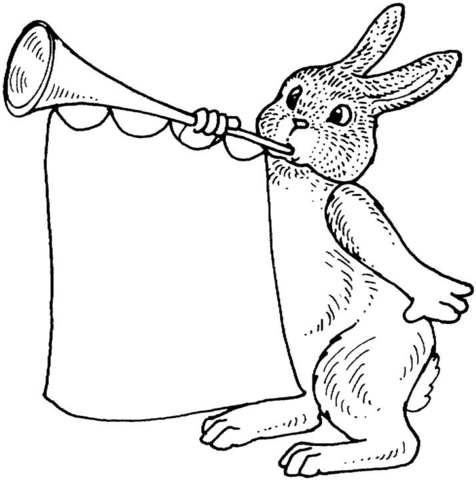 Rabbit With Trumpet Coloring Page Free Printable Coloring Pages