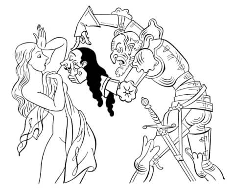 Real Face Of A Knight  coloring page