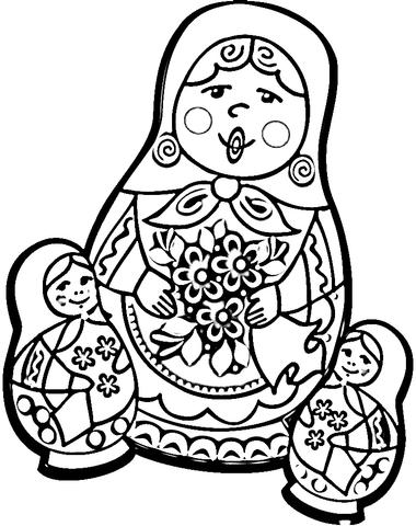 Russian Doll Matryoshka Coloring Page