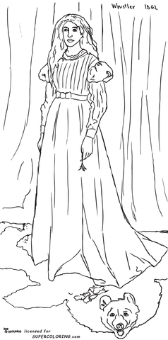 Symphony in White, No. 1: The White Girl by James Abbott McNeill Whistler coloring page