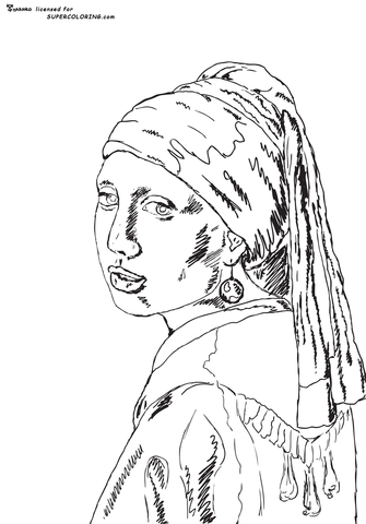 The Girl With The Pearl Earring By Johannes Vermeer  coloring page