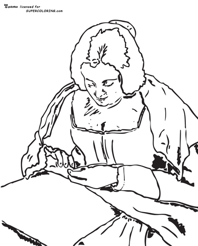 The Needlewoman by Diego Velazquez coloring page