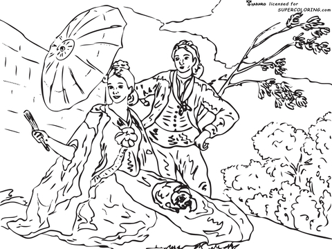The Parasol By Francisco De Goya  coloring page